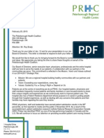 PRHC letter to Peterborough Health Coalition