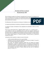 Résolution du Bureau national 24/02/2015