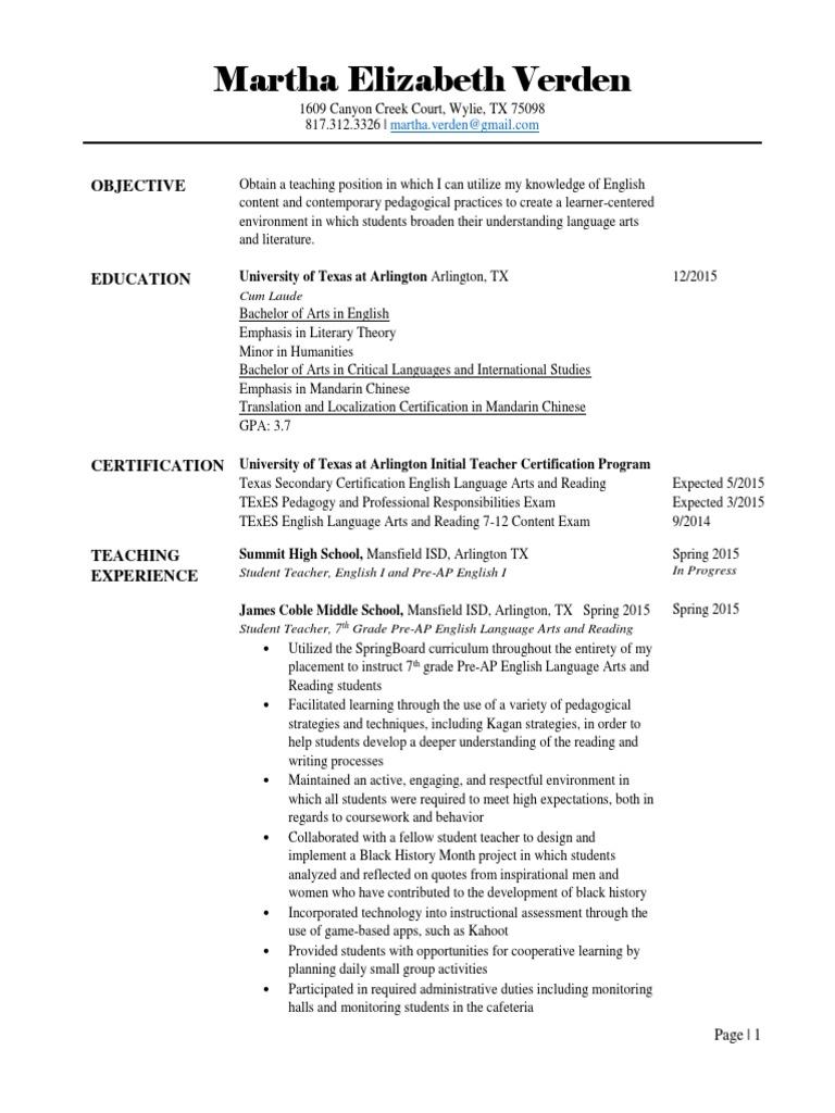 Resume Pdf Tutor Teachers