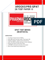 Pharmarocks Pre-gpat Mock Test-13