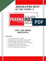Pharmarocks Pre-gpat Mock Test-13