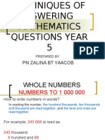 Techiques of Aswering Mathematics Questions Year 5