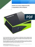 GIGABYTE Presenta BRIX La PC Ultra Compacta VF