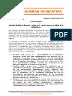 Communiqué TH - Réponse à Michel Buillard Sur Le Statut