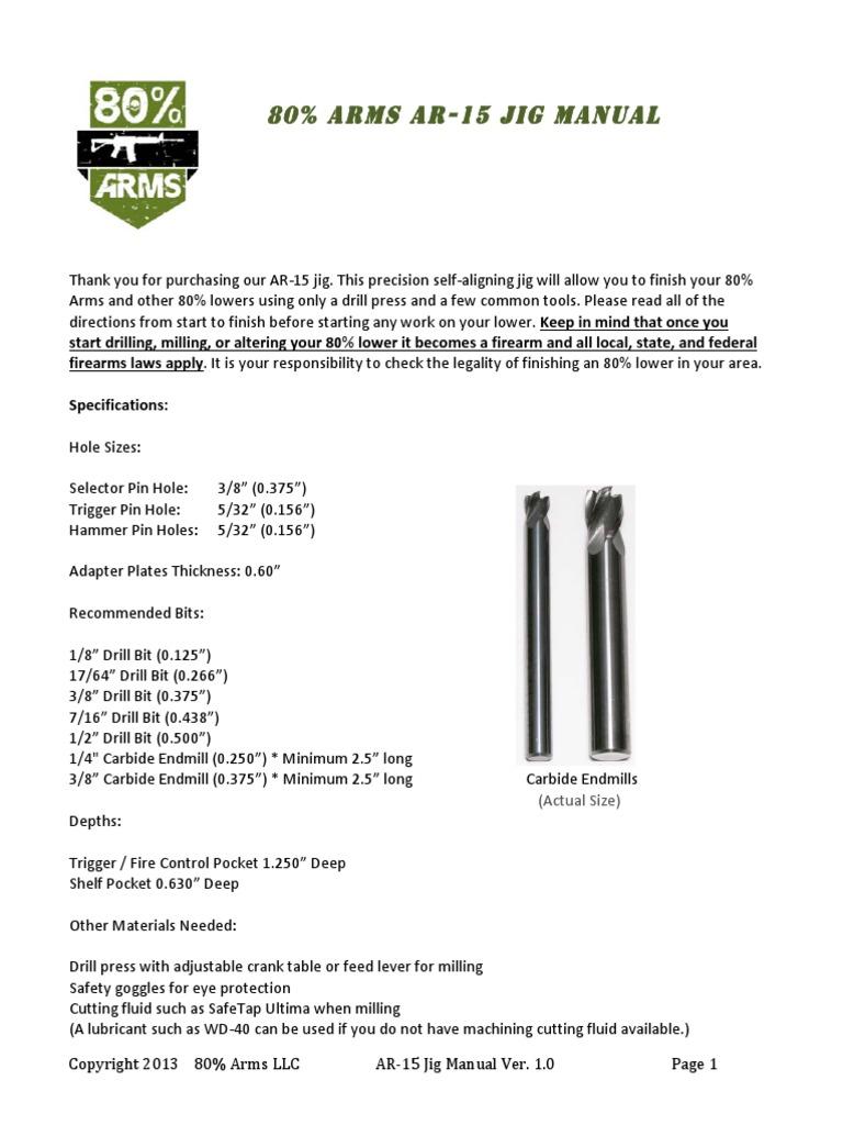 Jig Manual 80 Percent Arms Drill Drilling