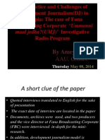 The Practice and Challenges of Development Journalism(DJ); The Case of FBCs Ummanni Maal Jedha Programme
