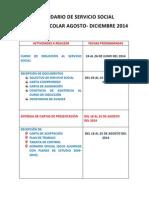 Calendario Servicio Social Agosto-diciembre 2014