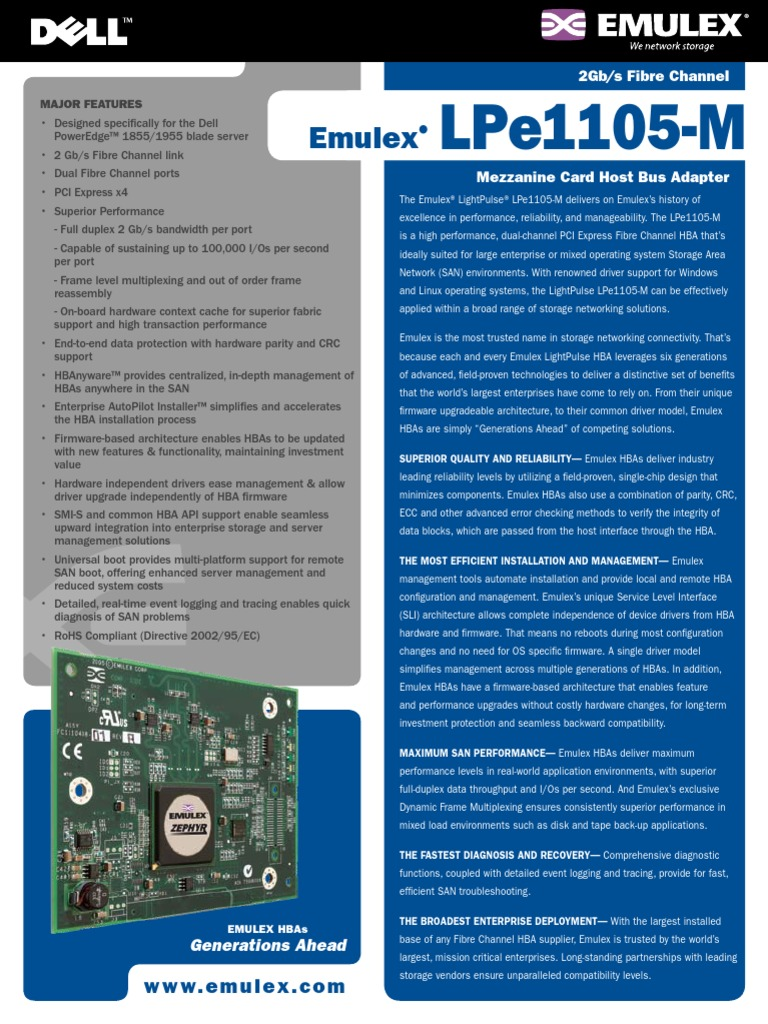 Emulex lightpulse lpe1105-hp driver