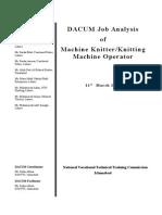 DACUM Chart on Knitting Machine Operator
