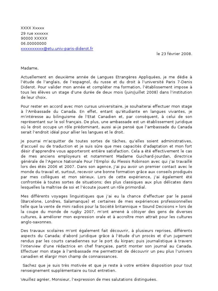 lettre de motivation universite droit