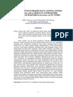 Uji Efektivitas Dekok Daun Anting Anting (Acalypha Indica) Sebagai Antibakteri Terhadap Bakteri Escherichia Coli in Vitro