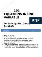 4 m101 Equations in One Variable