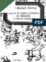 Sobre El Rigor Poetico en Espana y Otros Ensayos