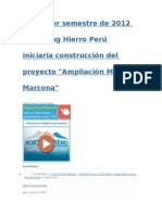 En Primer Semestre de 2012 Shougang Hierro Perú Iniciaría Construcción Del Proyecto