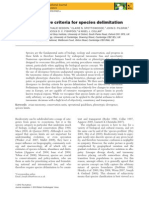 Quantitative criteria for species delimitation