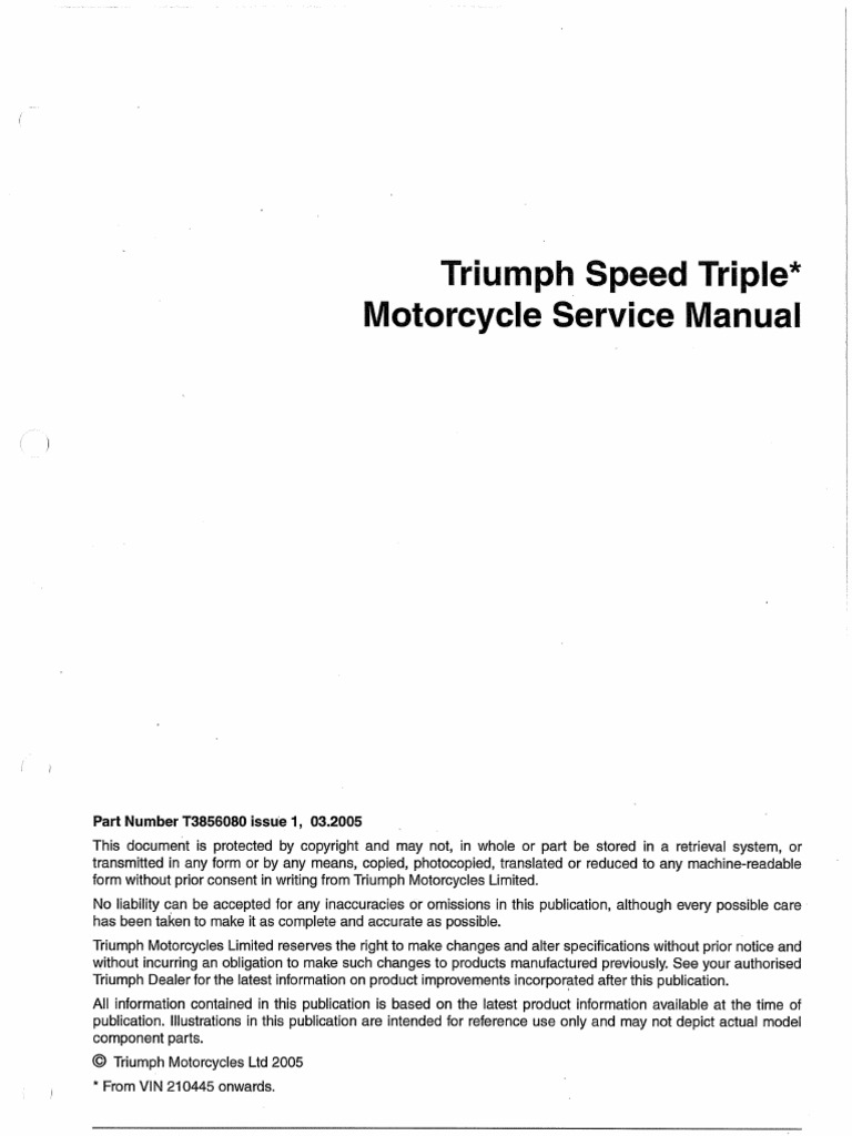 triumph speed triple 2005 onwards bike repair service manual