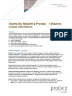 Testing the Reporting Process Protiviti
