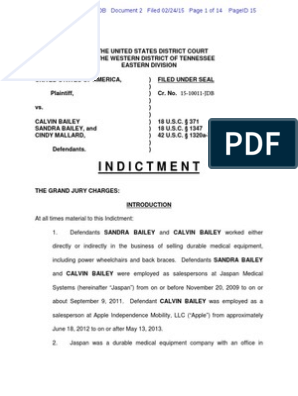 Indictment of Calvin and Sandra Bailey and Cindy Mallard
