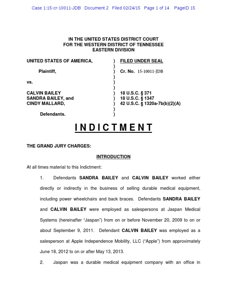 Indictment of Calvin and Sandra Bailey and Cindy Mallard | Medicare
