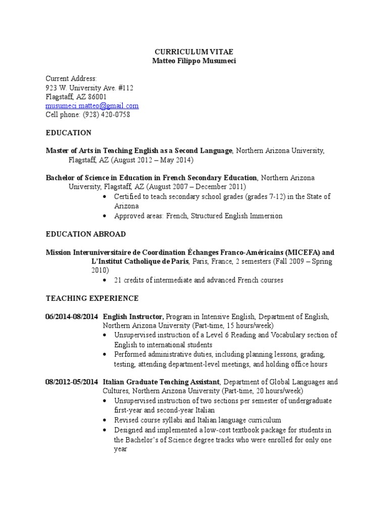 Musumeci Cv 2015 English As A Second Or Foreign Language