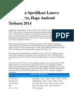 Harga Dan Spesifikasi Lenovo Vibe Z2 Pro