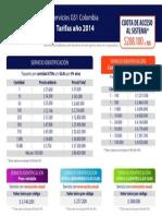 Valores Identificacion 2014 para obtener los servicios de identificación y código de barras