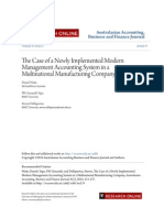 The Case of a Newly Implemented Modern Management Accounting System in MNC's