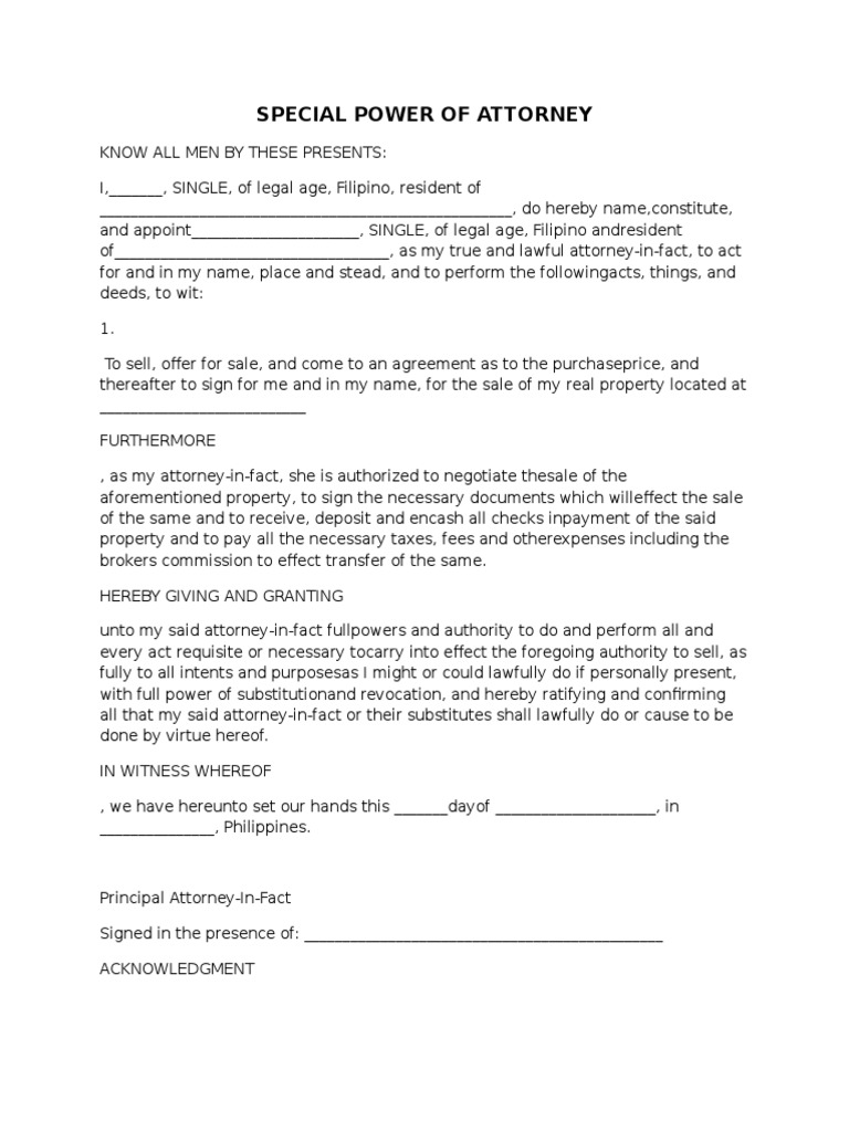 SPA Format – Sample Special Power of Attorney Form