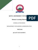 Pscm 431 Quality Management- Dlm Handout