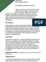 Good Qualities for Businessmen