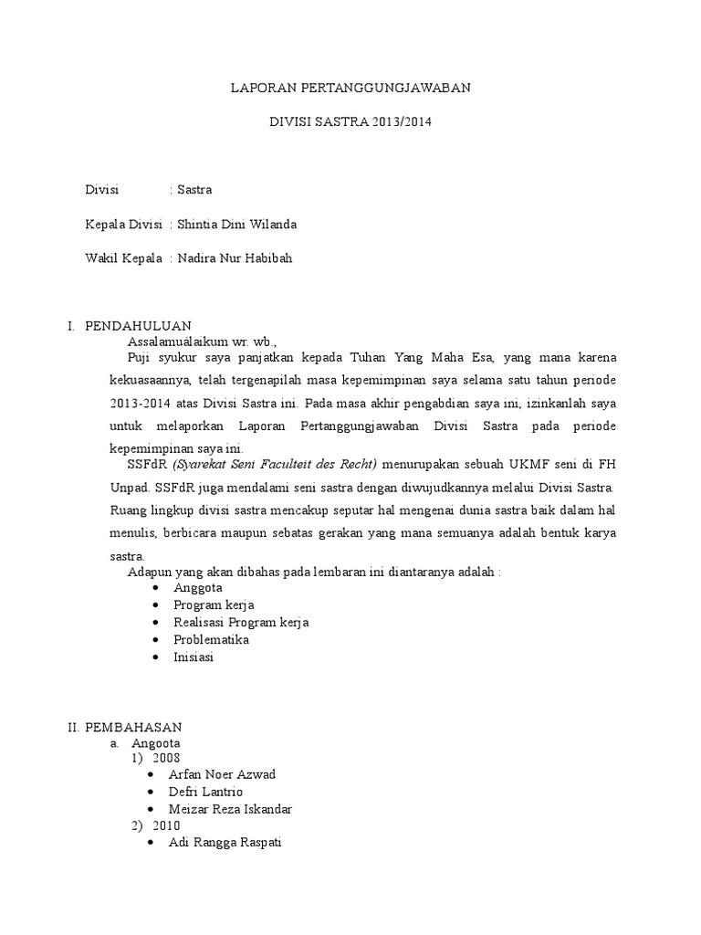 Contoh Laporan Pertanggungjawaban Untuk Ketua Divisi Pada Suatu Organisasi