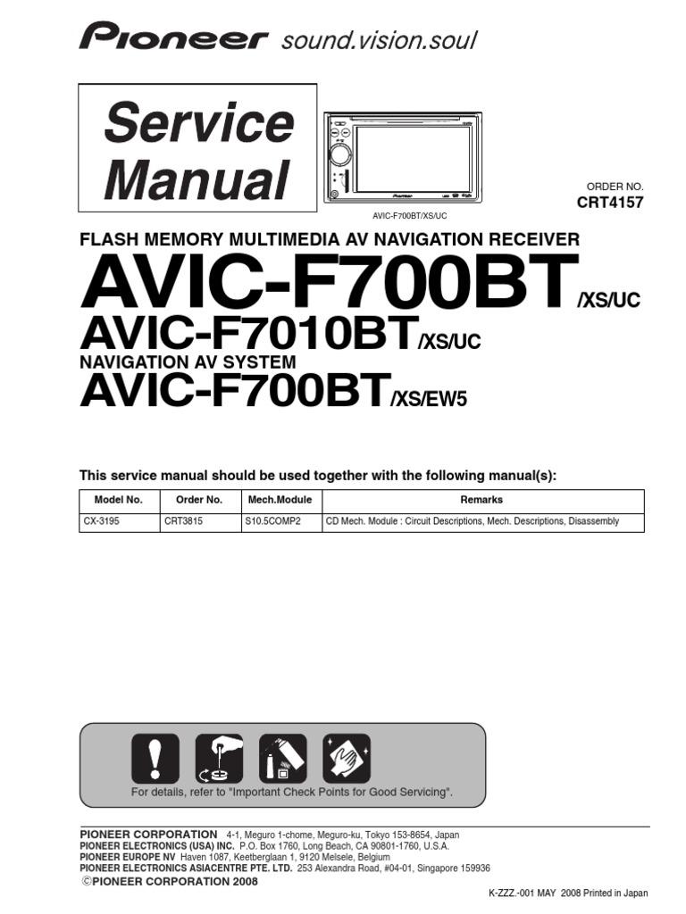 avic f700bt f7010bt pdf rh scribd com Pioneer AVIC- F900BT Pioneer AVIC- F900BT Wiring-Diagram