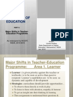 NCERT B.ed Two Year Curriculum PART II Major Shifts in T.E. 2010-12