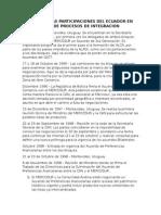 Análisis de Las Participaciones Del Ecuador en Los Rumores de Procesos de Integración