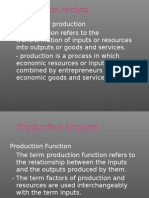 Production Analysis - Managerial economics