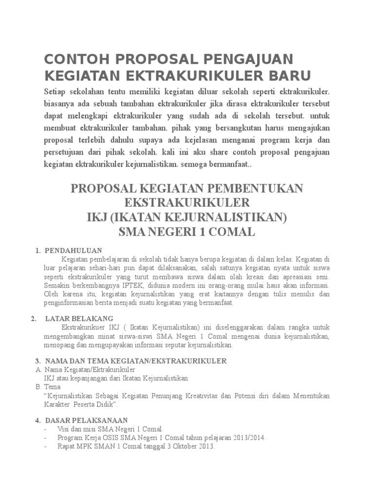 Contoh Proposal Pengajuan Kegiatan Ektrakurikuler