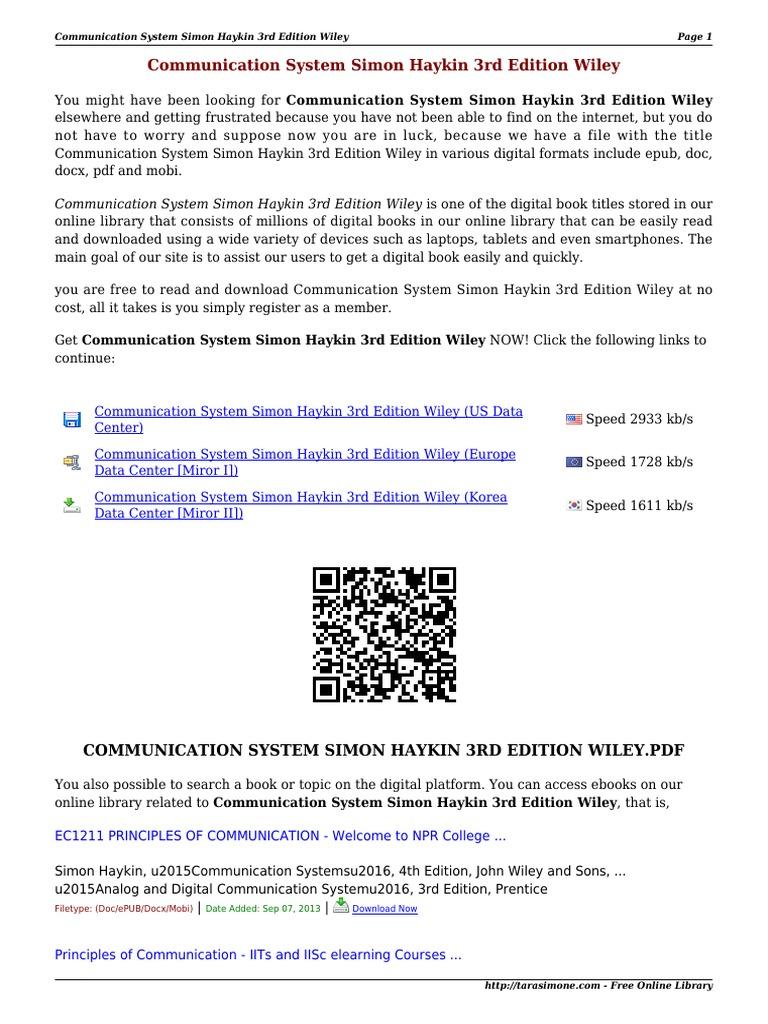 Communication system simon haykin 3rd edition wiley wpej0 fandeluxe Gallery