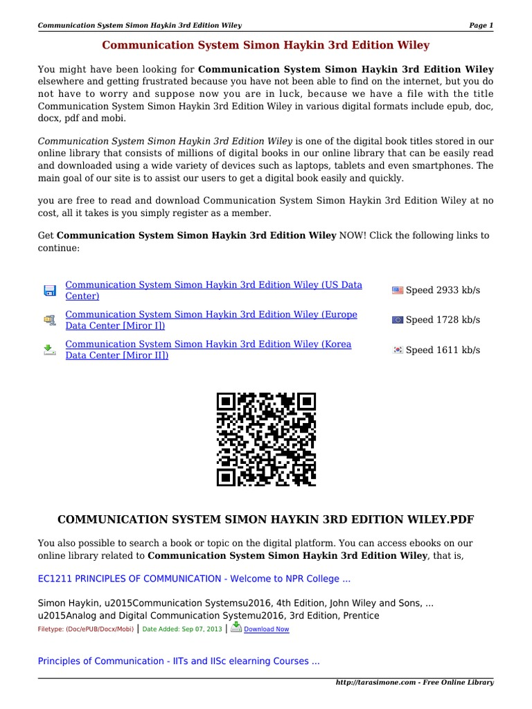 Digital Communication By Simon Haykin 4th Edition Pdf