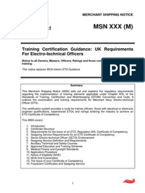 Uk Requirements for Electro-technical Officers | Academic