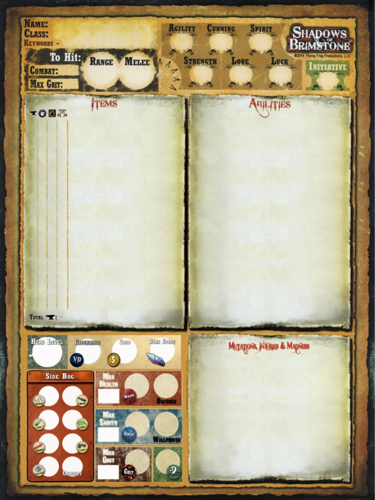 new character sheet for shadows of brimstone
