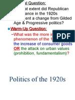 politics of 1920s