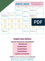 March Schedule at Angela's Gym 2015