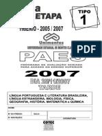 Unimontes Paes 2007 0 Prova Completa 3a Etapa c Gabarito