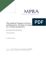Zum politischen Machtwechsel in Griechenland. Die Parlamentswahlen von Januar 2015 aus einem kritischen Blickwinkel