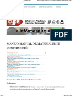 Manejo Manual De Materiales De Construcción