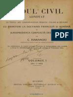 Codul Civil adnotat cu textul art. corespunzător francez italian și belgian  Cu trimiteri la doctrina franceză și română  și jurisprudența completă de la 1868-1925 de C. Hamangiu