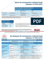 Tax Reckoner for Investments in Mutual Fund Schemes FY 2014-2015