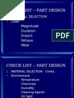 Check List – Part Design