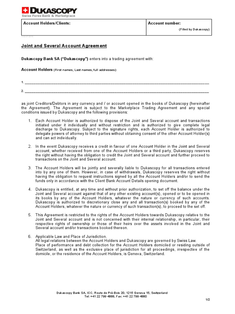 Joint And Several Account Agreement In Use Switzerland Jurisdiction