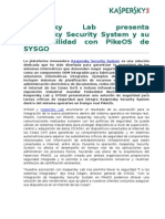 Kaspersky Lab Presenta Kaspersky Security System y Su Disponibilidad Con PikeOS de SYSGO